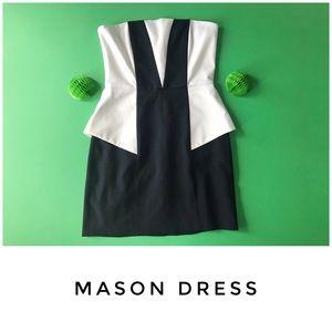 Mason dress size 0 strapless contrast peplum